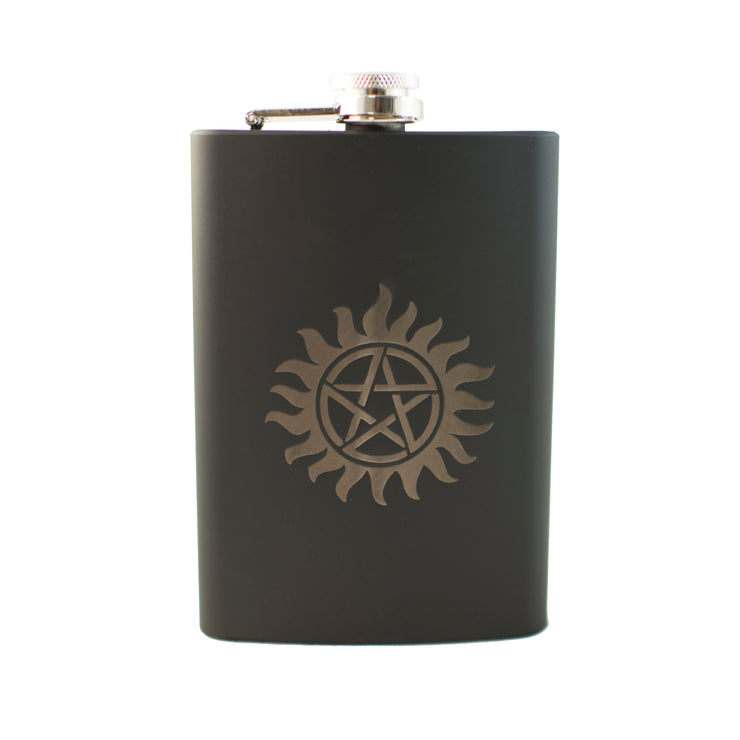 8oz BLACK Anti Possession Flask L1