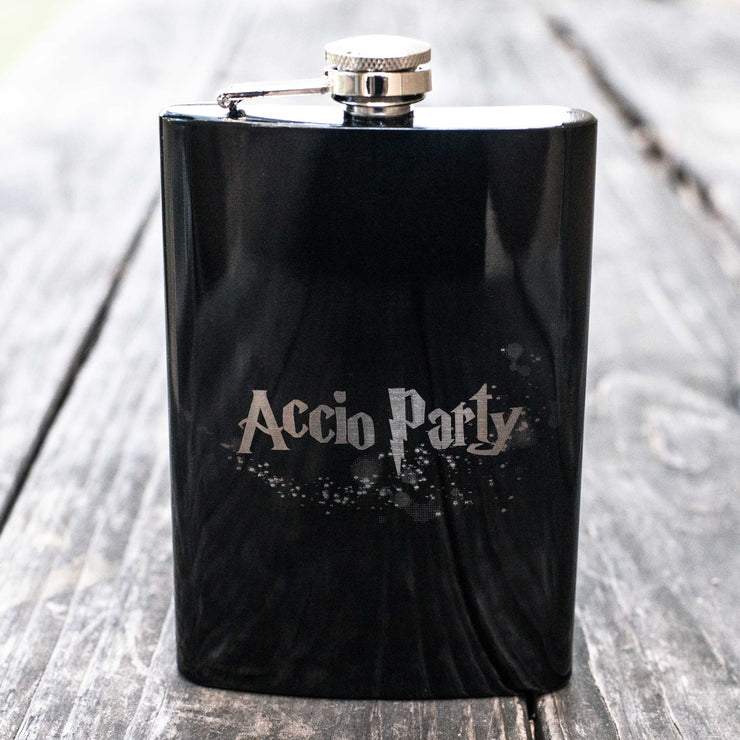 8oz BLACK Accio Party Flask L1