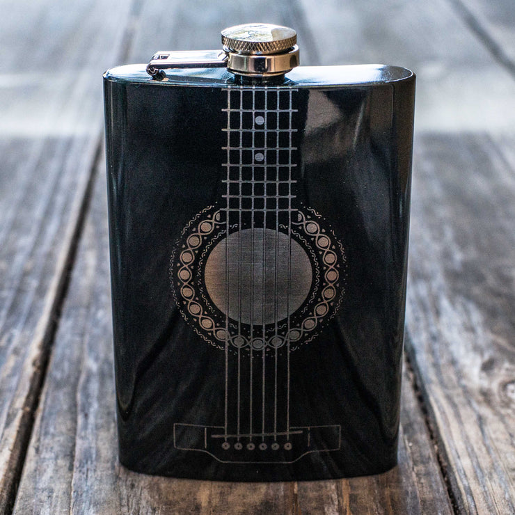 8oz BLACK Acoustic Guitar Flask L1