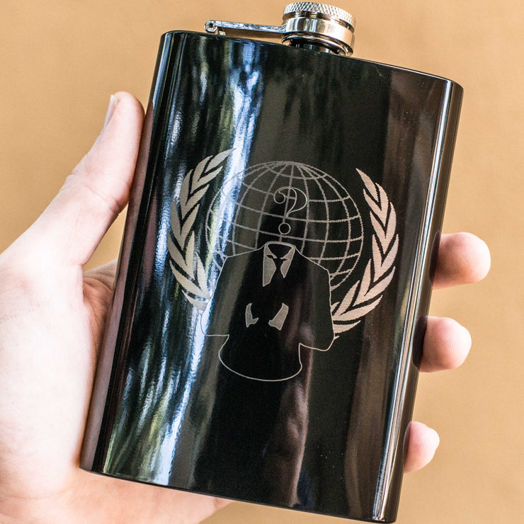 8oz BLACK Anonymous Flask L1