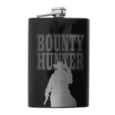 8oz BLACK Bounty Hunter Flask L1