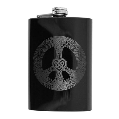8oz BLACK Celtic Love and Peace Flask L1