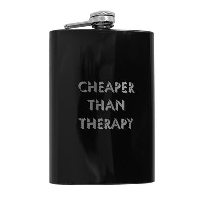 8oz BLACK Cheaper Than Therapy Flask L1