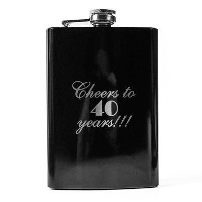 8oz BLACK Cheers to 40 Years Flask L1