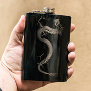 8oz BLACK Chinese Dragon Flask L1