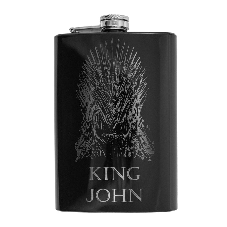 8oz BLACK Customizable King of Thrones Flask L1