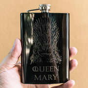 8oz BLACK Customizable Queen of Thrones Flask L1