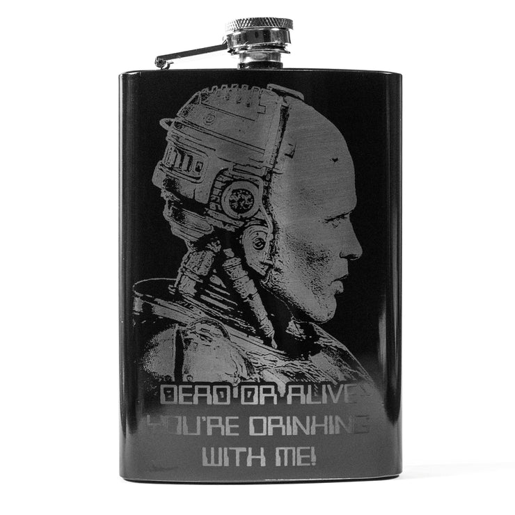 8oz BLACK Dead or Alive Flask L1