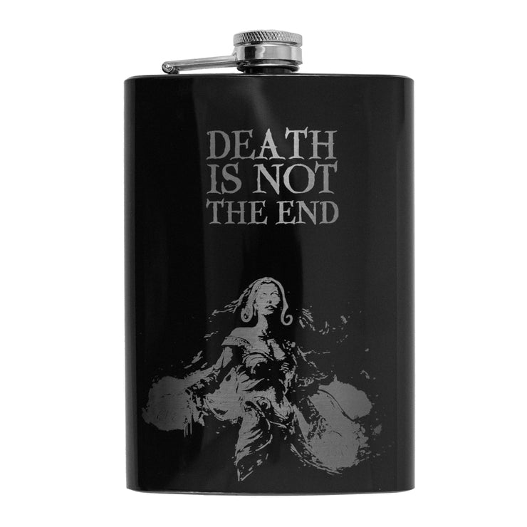 8oz BLACK Death Is Not the End Flask L1