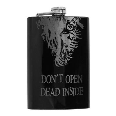 8oz BLACK Don't Open Dead Inside Flask L1