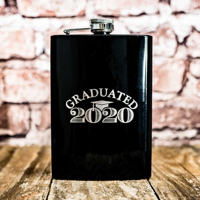 8oz BLACK Graduated with Year Flask