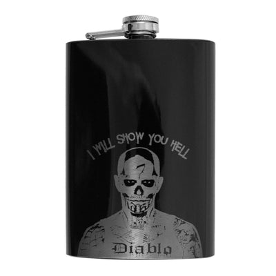 8oz BLACK I Will Show You Hell Flask L1
