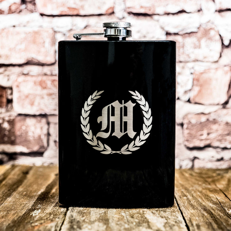 8oz BLACK Laurels with Initial Flask