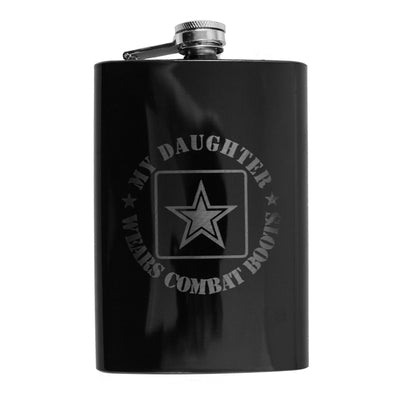 8oz BLACK My Daughter Wears Combat Boots Flask L1