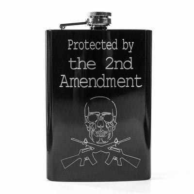 8oz BLACK Protected by the 2nd Amendment Flask R1