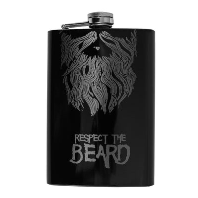 8oz BLACK Respect the Beard Flask L1