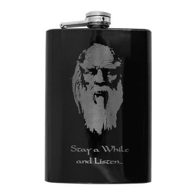 8oz BLACK Stay a While and Listen Flask L1