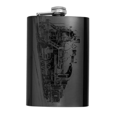 8oz BLACK Steam Locomotive Flask L1 Train Novelty