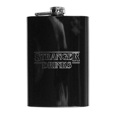 8oz BLACK Stranger Drinks Flask L1