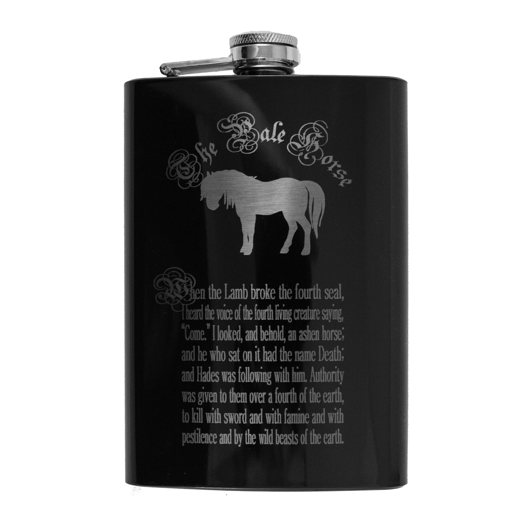 8oz BLACK The Pale Horse Four Horsemen of the Apocalypse Flask L1
