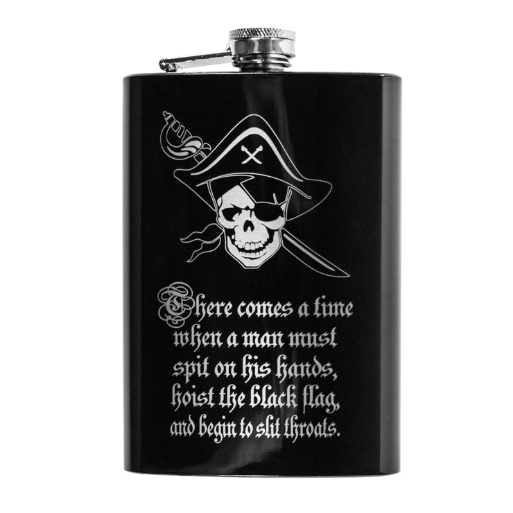 8oz BLACK There Comes a Time Flask L1