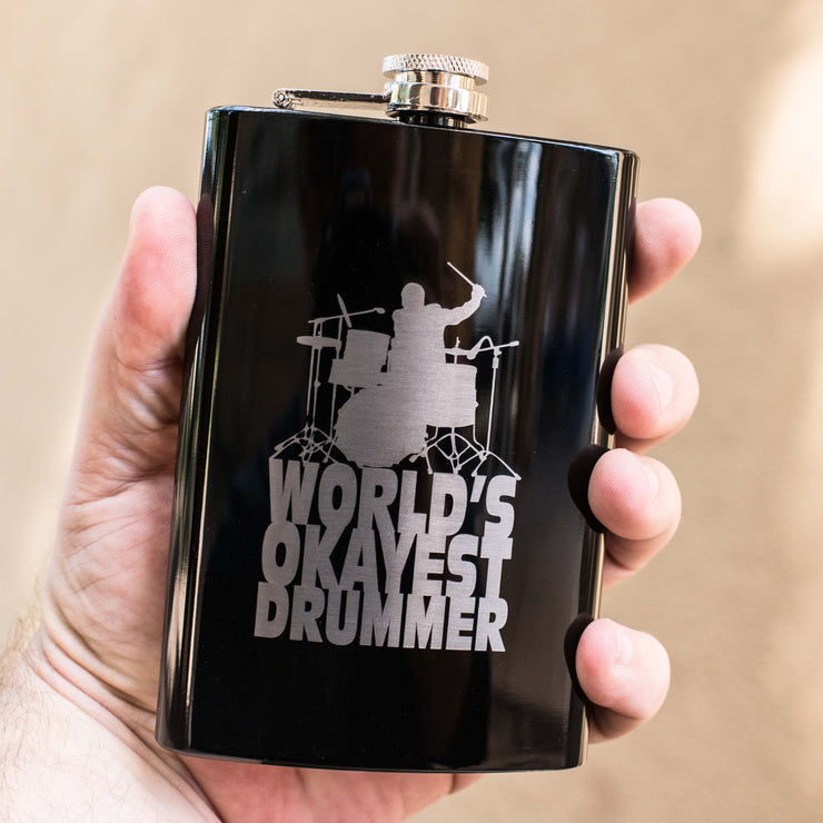 8oz World's Okayest Drummer Flask L1
