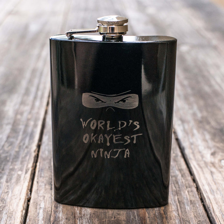 8oz BLACK World's Okayest Ninja Flask L1