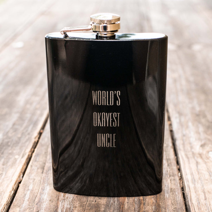 8oz BLACK World's Okayest Uncle Flask L1