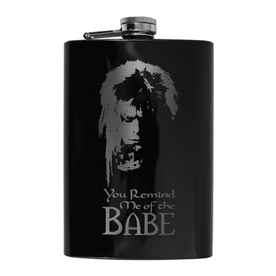 8oz BLACK You Remind Me of the Babe Flask L1