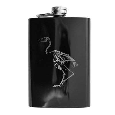 8oz BLACK Bird Skeleton Flask L1