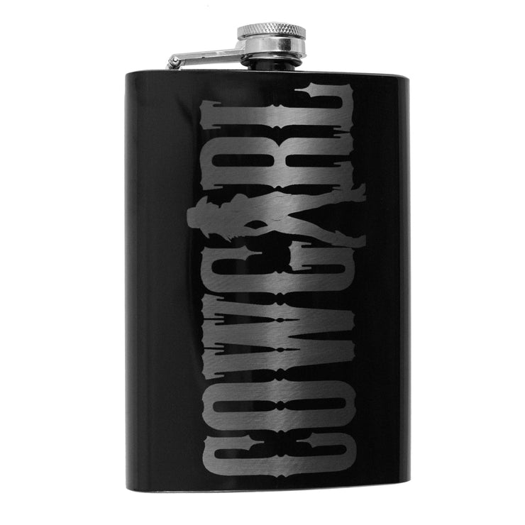 8oz Black Cowgirl Flask L1
