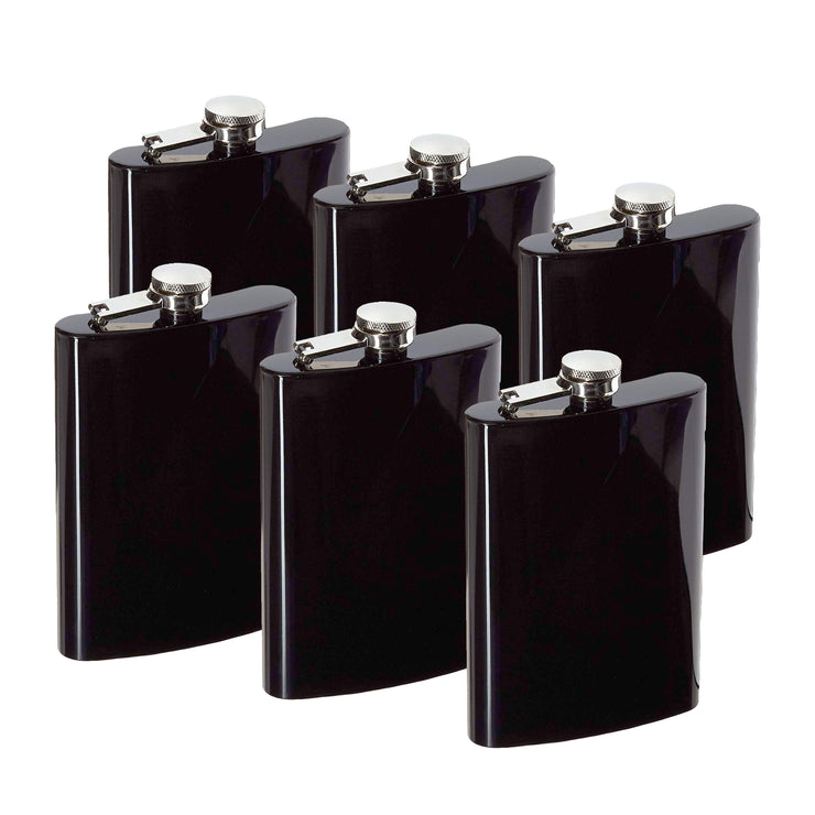 8oz Black Hip Flask (QTY 6) (Stainless steel) Groomsman wedding gift