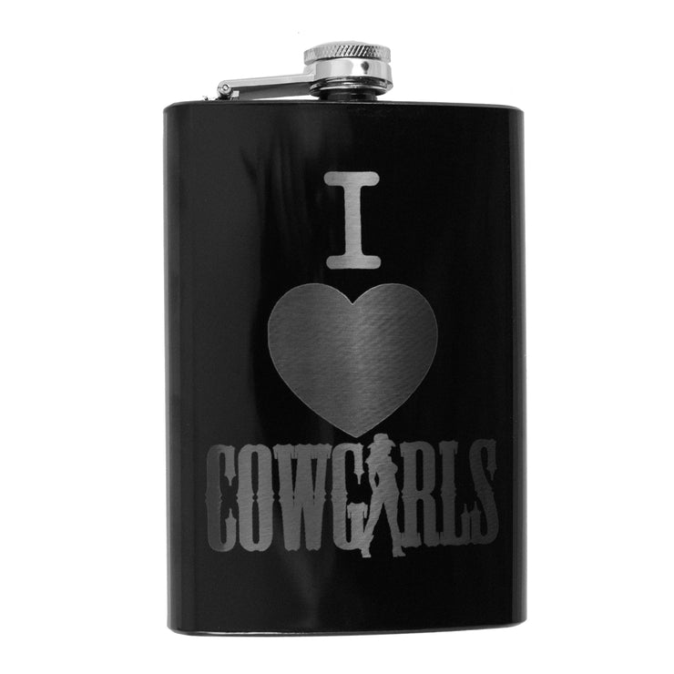 8oz BLACK I Love Cowgirls Flask L1