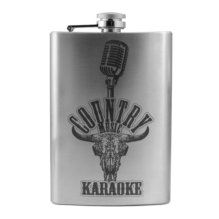 8oz Country Music Karaoke Flask L1 Fun Silly Novelty