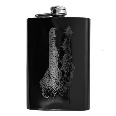 8oz BLACK Croc Flask L1