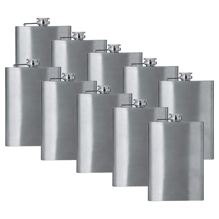 8oz Stainless Steel Hip Flask (QTY 10) (Stainless steel) Groomsman wedding gift