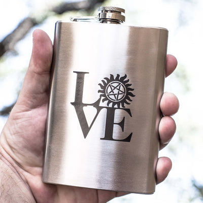 8oz Geek Love Collection - Anti-Possession Flask Laser Engraved