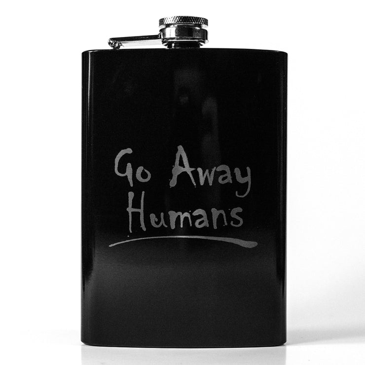 8oz BLACK Go Away Humans Flask L1