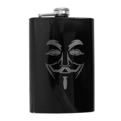 8oz BLACK Guy Fawkes Flask L1 Anonymous Novelty