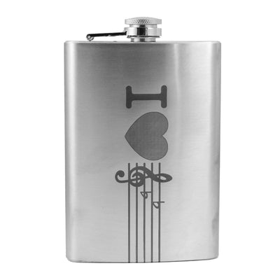 8oz I Love Music Flask L1