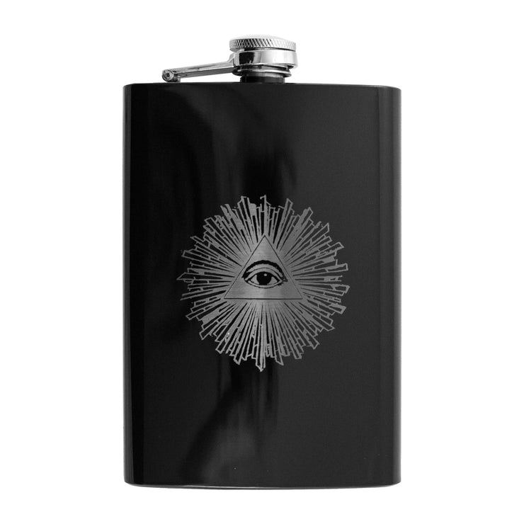 8oz BLACK Illuminati All Seeing Eye Flask L1