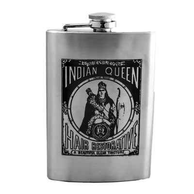 8oz Indian Queen Flask Laser Engraved