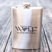 8oz Leave One Wolf Alive Flask L1
