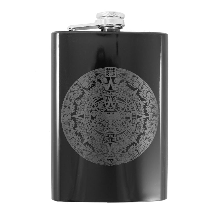 8oz BLACK Mayan Calendar Flask L1