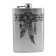 8oz Native American Feather Band Flask L1