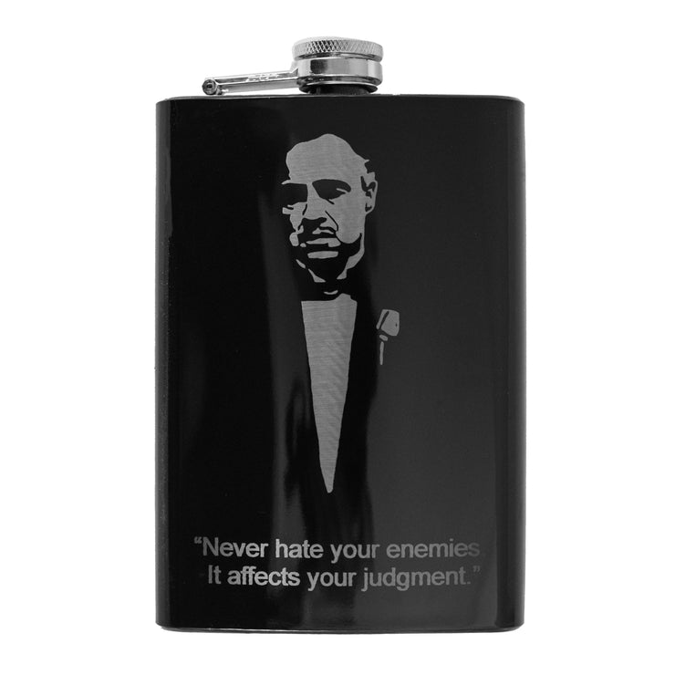 8oz BLACK Never Hate Your Enemies Flask L1