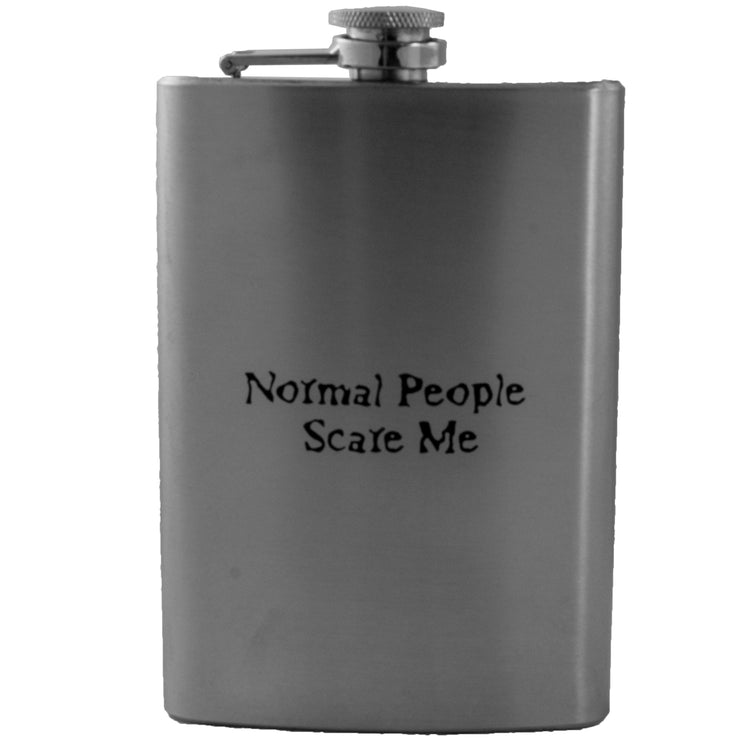 8oz Normal People Scare Me Flask Laser Engraved