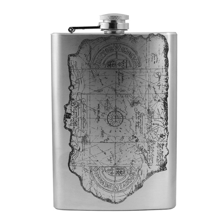 8oz One Eyed Willie Treasure Map Flask L1