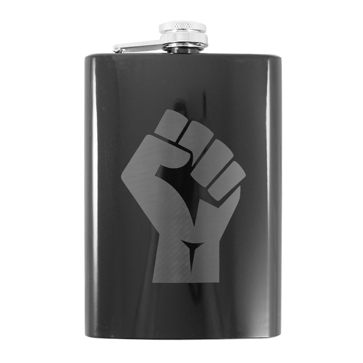 8oz Power Fist Black Flask L1