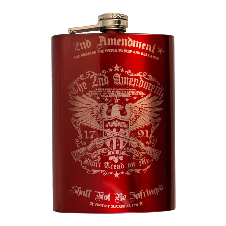 8oz RED 2nd Amendment Flask L1